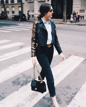jacket tumblr black leather jacket leather jacket embellished jacket embellished shirt blue shirt gucci logo belt belt denim jeans black jeans frayed denim frayed jeans bag black bag chanel chanel bag fall outfits gucci belt