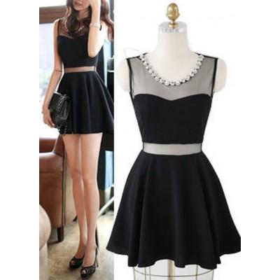 Black sleeveless mesh diamond neck women's short dress