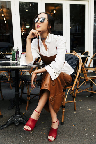 skirt brown skirt tumblr leather skirt top crop tops tube top matching set shirt white shirt sandals sandal heels high heel sandals red sandals sunglasses mirrored sunglasses