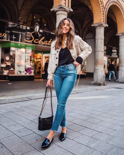 ece2e4925fe bag chanel gabrielle small hobo bag black bag shoulder bag jeans denim blue  jeans jacket top