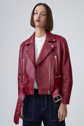 jacket,acne studios,36683,leather jacket,dark red leather,spring jacket,red jacket,red,luxury