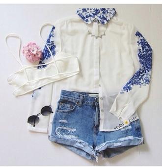blouse white blouse pocket button down