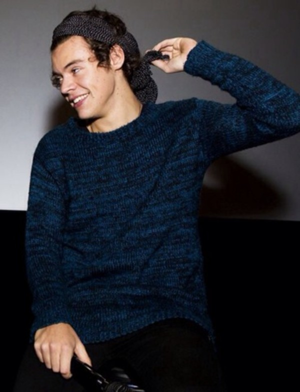 sweater blue harry styles one direction bandana