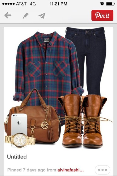 shoes shirt plaid shirt black jeans combat boots bag