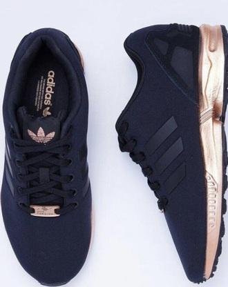 shoes black and copper shoes zx flux adidas size 37 women