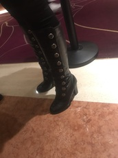 shoes,black studded knee high boots