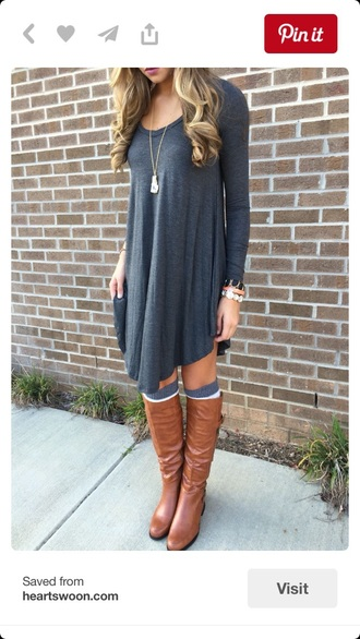 dress fall outfits fall dress knee length dress grey long sleeves