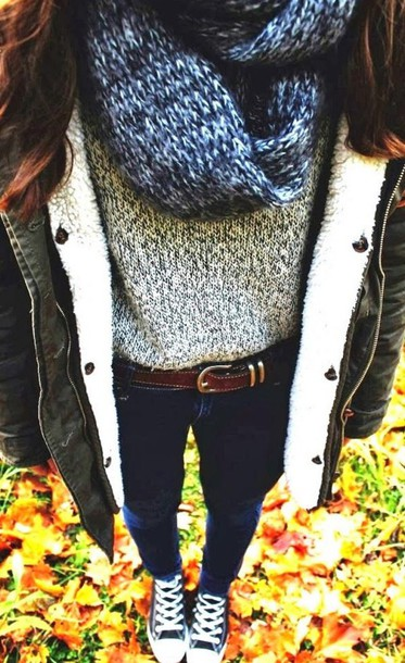scarf top belt jeans military coat coat winter coat black coat sweater knitted sweater knitted scarf blouse grey sweater