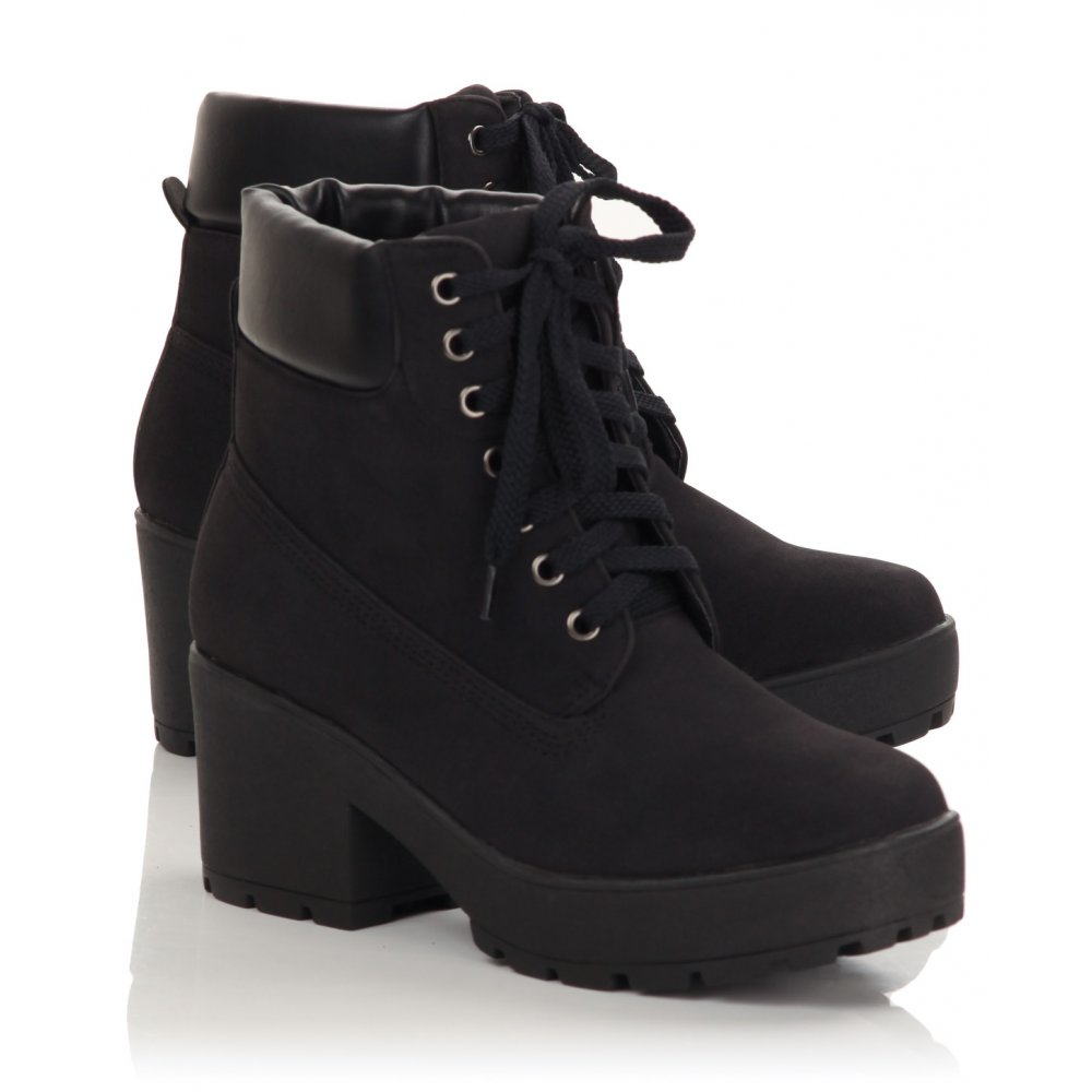 Black Lace Up Ankle Boots - Cr Boot