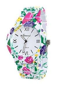 Amazon.com: ryanwayland xmas gift new fashion geneva stainless steel flower style bracelet women ladies dress watches white: watches