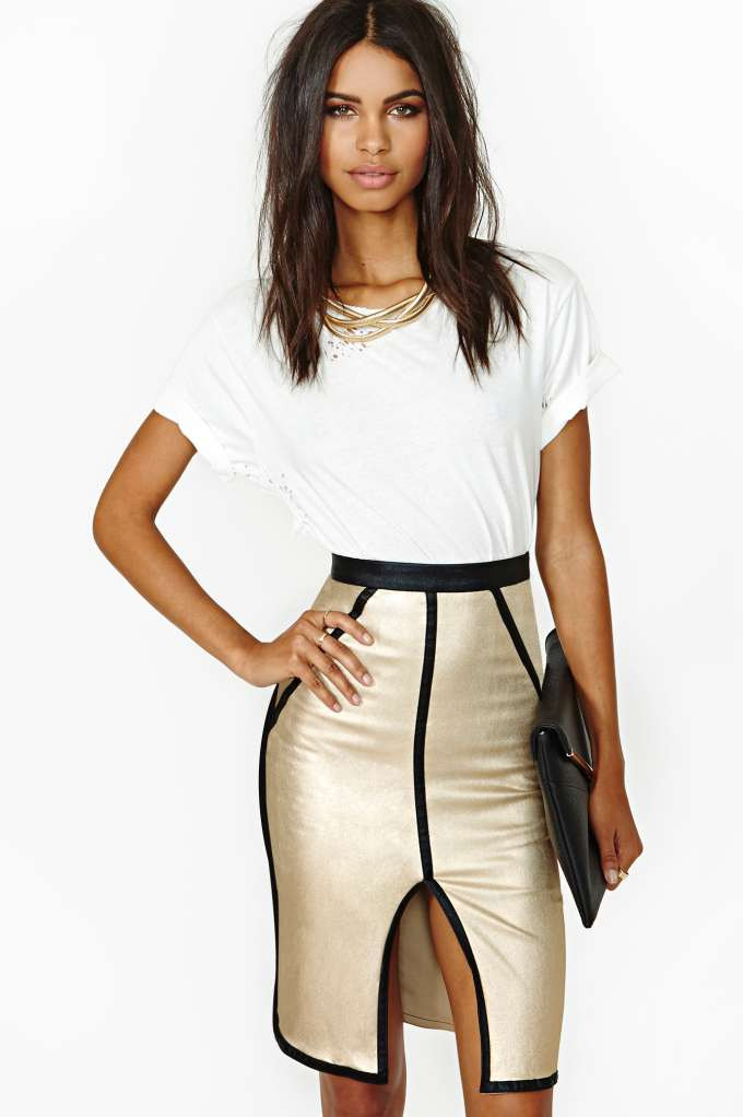 Gold Dust Midi Skirt in  Clothes at Nasty Gal