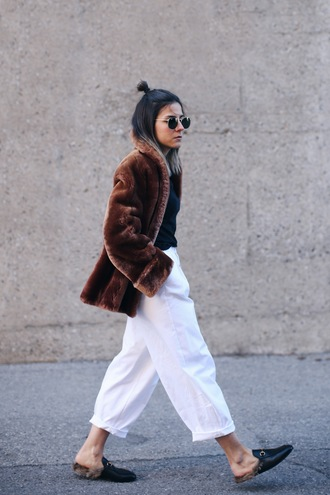 sunglasses fur coat white flared pants black mules blogger round sunglasses