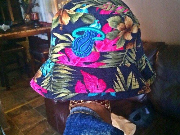 miami floral miami heat bucket hat tropical street streetwear hat maimi bucket hat fashion dope grenn