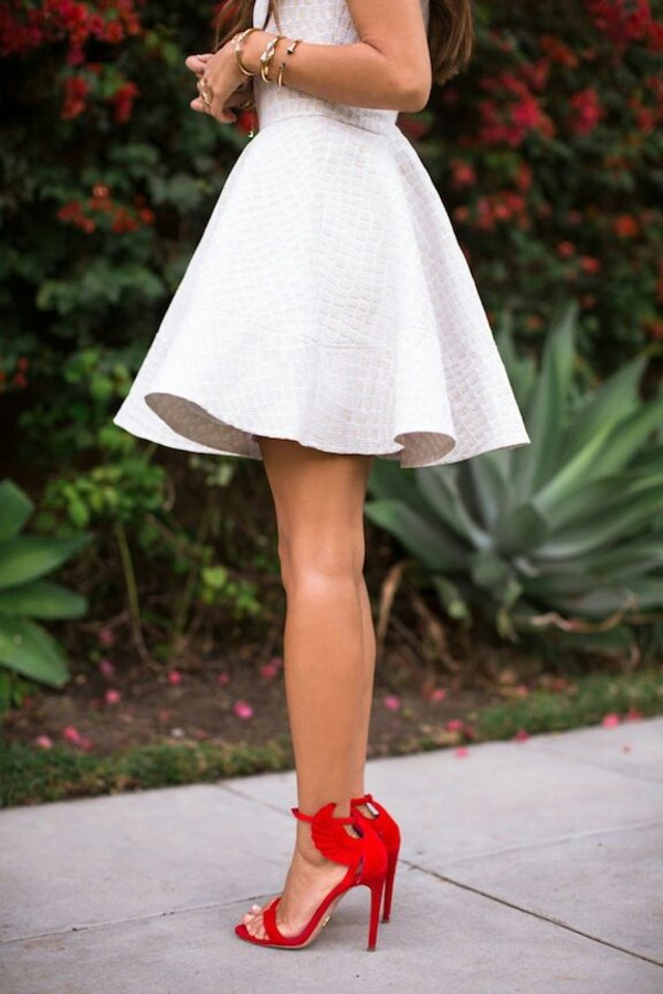 shoes white dress red heels angel wings heels high heels summer dress white ruffled dress red wing heels dress red high heel sandals red high heels strappy sandals