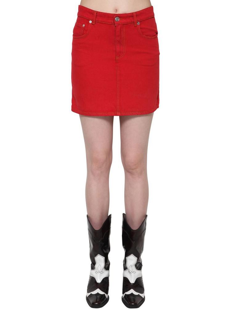 GANNI Cotton Denim Short Skirt in red