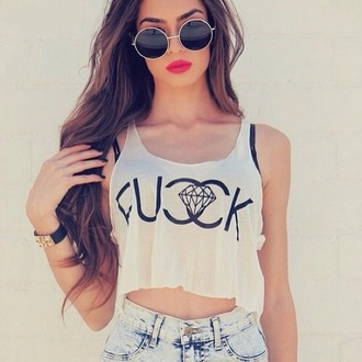 shirt white sunglasses jewels dress skirt top crop tops tank top diamonds hipster hipster girl girl fashion ootd summer streetstyle clothes chanel chanel inspired cc t-shirt blouse fucck white crop tops hot short glasses vintage grey logo shorts