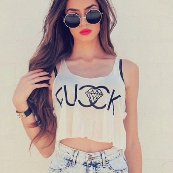 grey sunglasses top t-shirt t-shirt tank top logo shirt white skirt crop tops crop tops tank top girl diamonds hipster hipster girl fashion ootd summer outfits streetstyle clothes coco coco channel chanel chanel coco chanel fuck t-shirt blouse fucck white crop tops chanel hot short glasses vintage