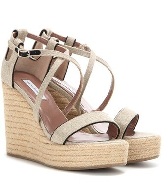 sandals wedge sandals beige shoes