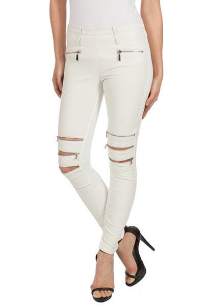 Effect white zipper legging