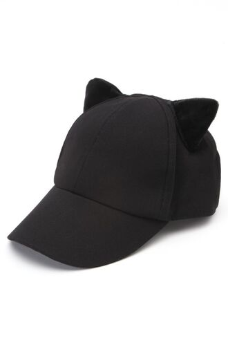 hat black hat cute hat hat with two cat ears