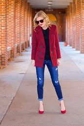 life with emily,blogger,jacket,sunglasses,red heels,ripped jeans,sweater,jewels,shoes