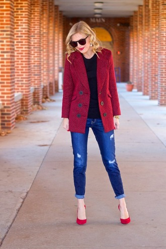 life with emily blogger jacket sunglasses red heels ripped jeans sweater jewels shoes