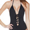 Front laced backless halter one piece swimwear