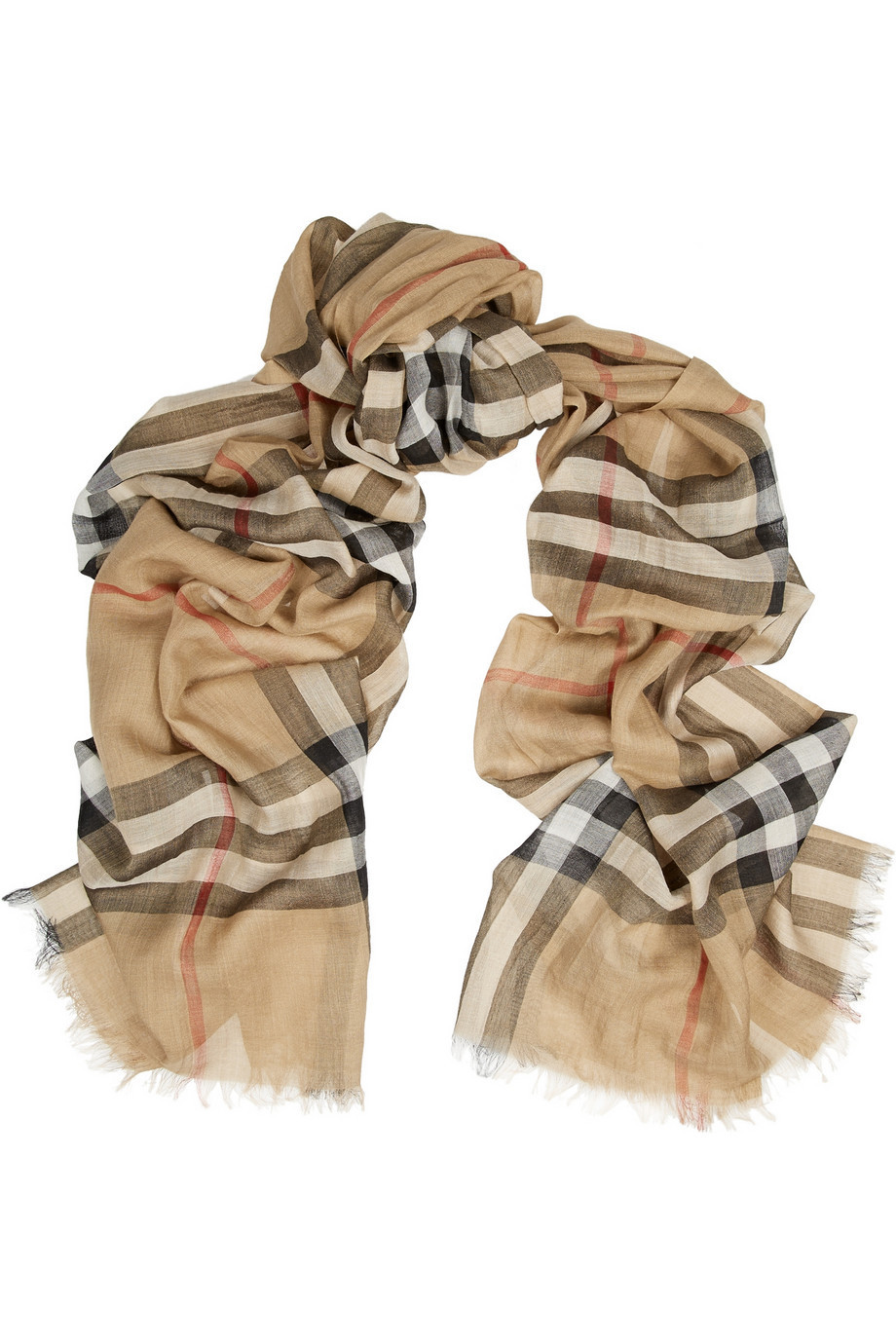 Burberry London London Checked Wool and Silk-Blend Scarf in camel