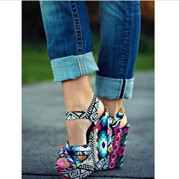 shoes high heels wedges print pattern