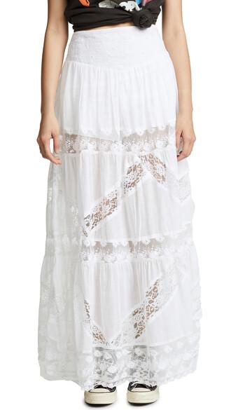 skirt maxi skirt heart maxi white