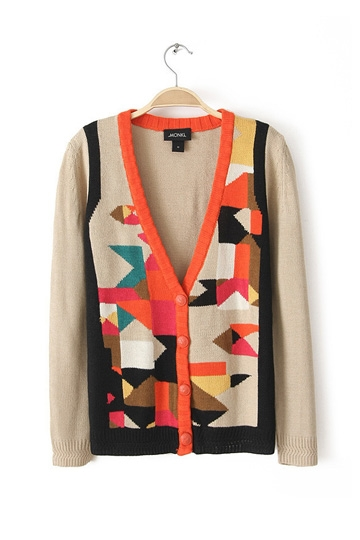 Retro Colored Square Grid Cardigan [FKBJ10278]- US$ 19.54 - PersunMall.com