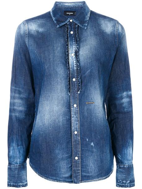 Dsquared2 - bleached denim shirt - women - Cotton/Spandex/Elastane - 38, Blue, Cotton/Spandex/Elastane