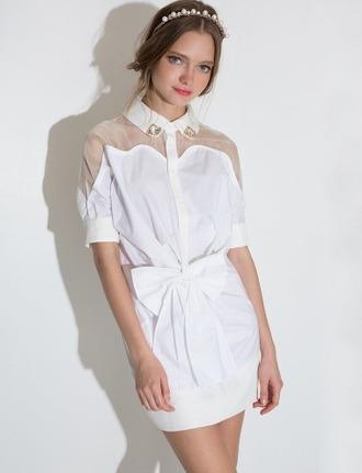 dress white dress cute summer dress jeweled dress collar bow spring dress knot pixie market pixie market girl