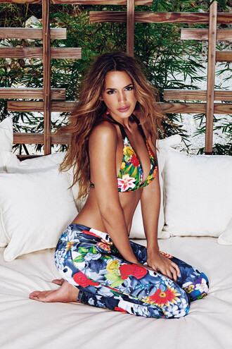 swimwear agua bendita bottoms leggings bikini luxury print pistilo leggings garden floral printed sweater