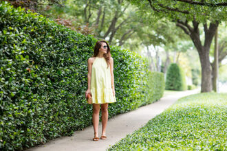 dallas wardrobe // fashion & lifestyle blog // dallas - fashion & lifestyle blog blogger dress shoes bag sunglasses yellow dress mini dress slide shoes summer dress summer outfits