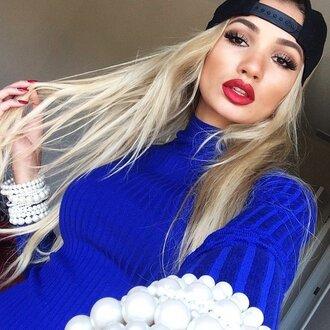 pia mia perez blue pearl pia mia turtleneck red lipstick