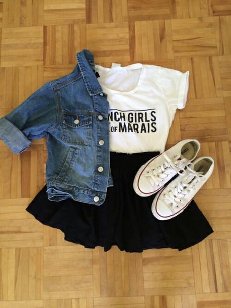t-shirt blouse blanc jeans converse all star girl haut skirt jacket bag