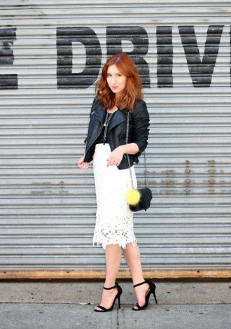 tf diaries blogger lace skirt white skirt leather jacket shoulder bag black sandals