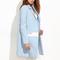 Blue notch collar contrast panel coat -shein(sheinside)