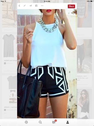 shorts black and white black shorts geometric