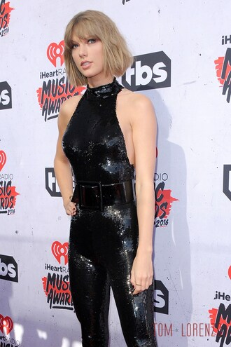 jumpsuit sequin jumpsuit black jumpsuit sequins halter neck waist belt belt black belt taylor swift celebrity style celebrity
