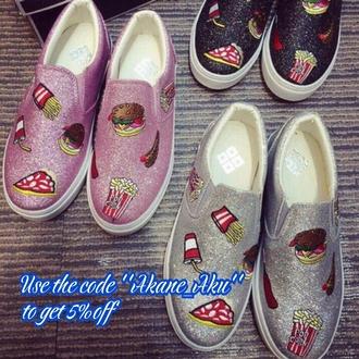 shoes pizza motif food