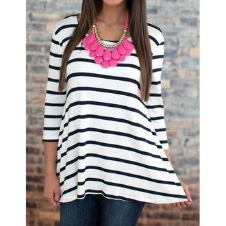 top black and white stripes summer spring casual clothes rose wholesale-feb