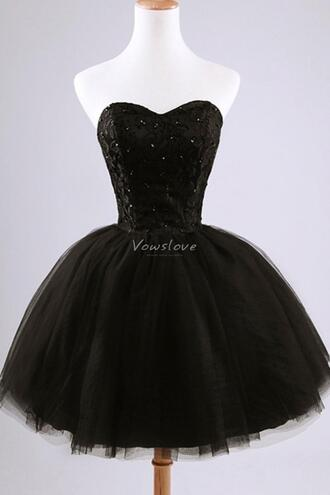 little black dress black prom dress black tutu vowslove.com