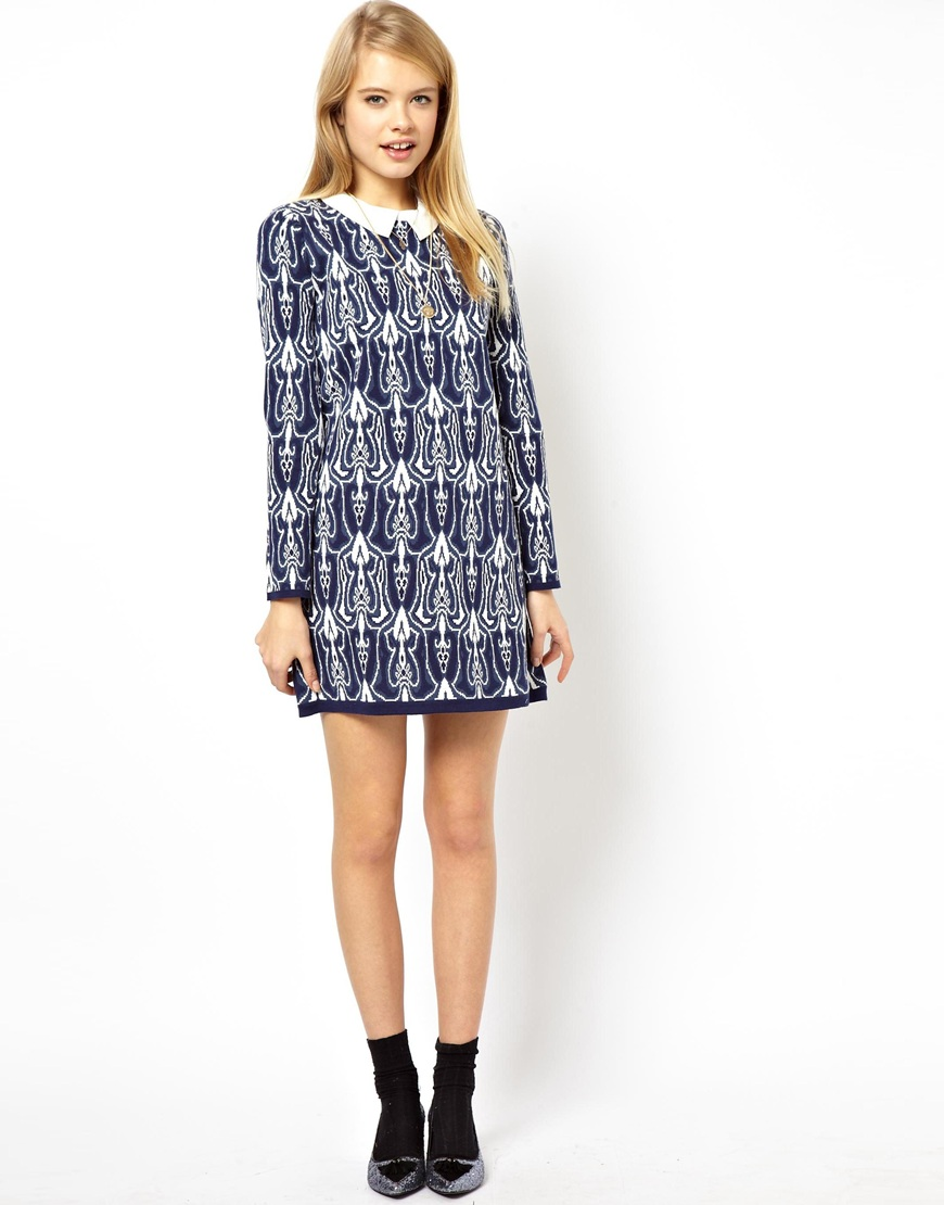 ASOS Jacquard Bonded Shift Dress With Lace Collar in Knit at asos.com