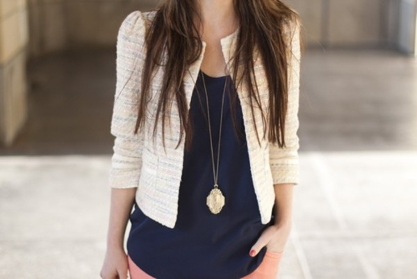 coat twill navy tangerine necklace gold shoes jacket brunette cream blazer gold necklace tank top brunette vintage necklace white white jacket blue shirt pink pants pink vintage nails hair vest waistcoat found on pinterest lace jacket pinterest cardigan bouclé jacket