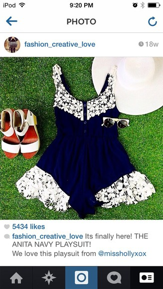 navy jumpsuit lace