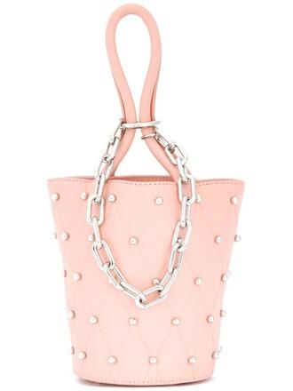 studs ball bag bucket bag pink