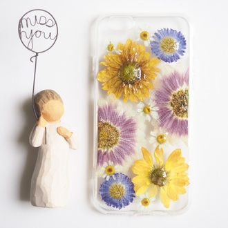 phone cover flowers floral cute cold handmade daisy daisy lover sunflower yellow little white white daisy real flowers iphone 6s iphone 6s plus iphone case iphone cover cool beautiful pretty love gift ideas shabibisheep purple accessories valentines day gift idea mothers day gift idea