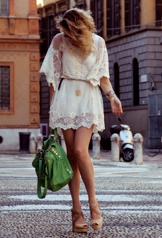 dress lace pretty flowy sheer white boho summer dress summer white dress skirt lace dress flowers fashion clothes hippie floral loose lacy cream